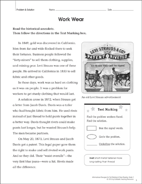 Work Wear (Problem & Solution): Close Reading - Printable Worksheet