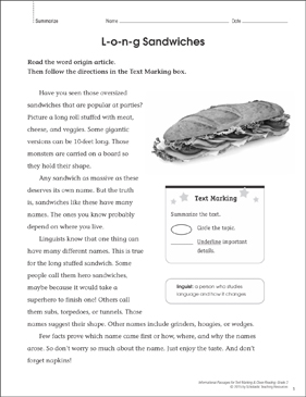 L-o-n-g Sandwiches (Summarize): Close Reading - Printable Worksheet