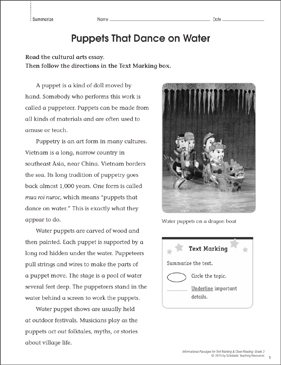 Puppets That Dance on Water (Summarize): Close Reading - Printable Worksheet