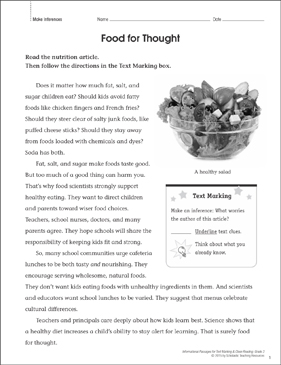 Food for Thought (Make Inferences): Close Reading - Printable Worksheet