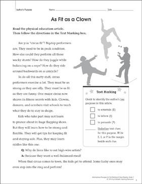 As Fit as a Clown (Author's Purpose): Close Reading - Printable Worksheet