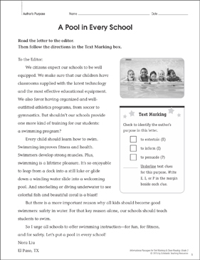 A Pool in Every School (Author's Purpose): Close Reading - Printable Worksheet