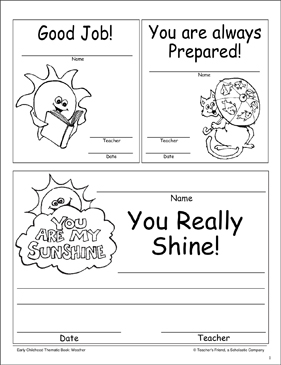 Sunshine Award Certificates - Printable Worksheet