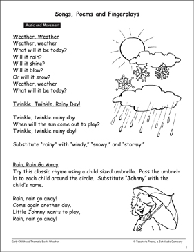 Weather: Songs, Poems, and Movement - Printable Worksheet