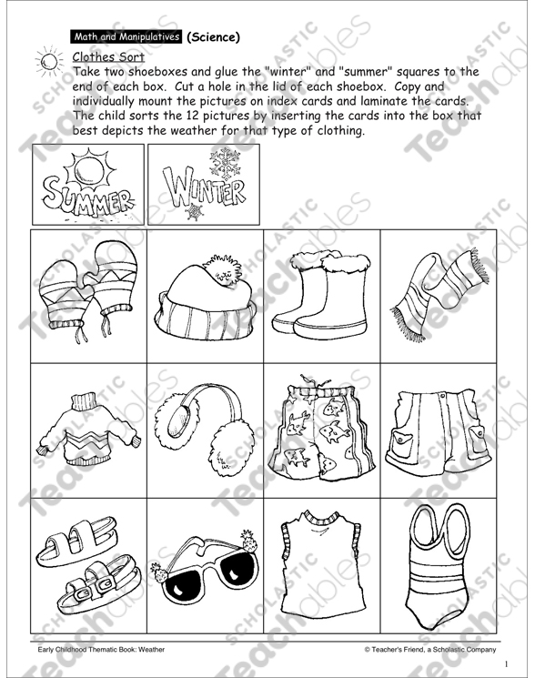 Clothes Sort Printable Lesson Plans Ideas And Skills Sheets