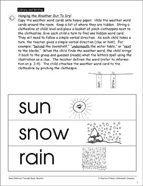 Hanging the Weather Out To Dry! - Printable Worksheet
