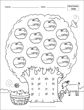 Short Vowel (-ump): Word Family Tree - Printable Worksheet