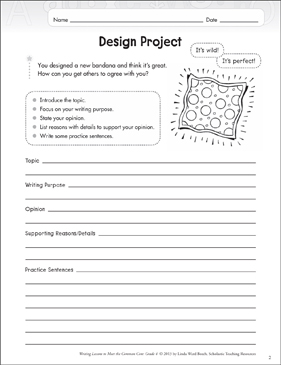 Design Project: Opinion Writing Lesson - Printable Worksheet