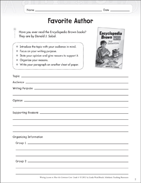 Favorite Author: Opinion Writing Lesson - Printable Worksheet