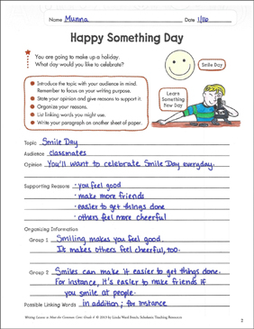 Happy Something Day: Opinion Writing Lesson - Printable Worksheet