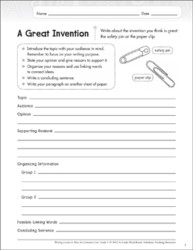 A Great Invention: Opinion Writing Lesson - Printable Worksheet