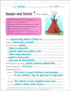 Houses and Homes: Informative Writing Lesson - Printable Worksheet