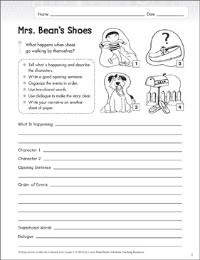Mrs. Bean's Shoes: Narrative Writing Lesson - Printable Worksheet