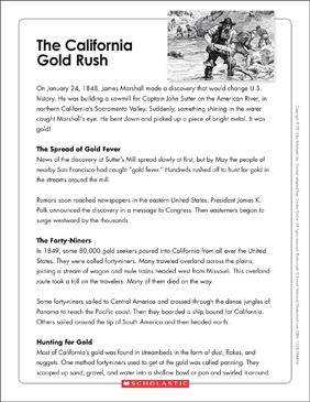 The California Gold Rush: Text & Organizer - Printable Worksheet