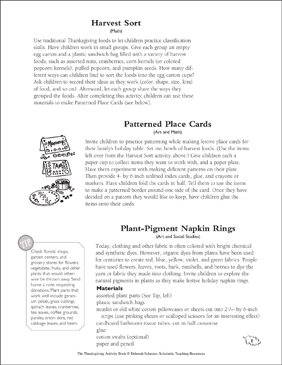 Setting the Table Pilgrim Style: Thanksgiving Activities - Printable Worksheet