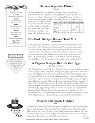 Pilgrim and Wampanoag Recipes: Thanksgiving Activities - Printable Worksheet