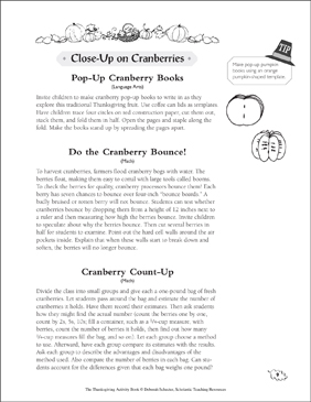 Close-Up on Cranberries: Thanksgiving Activities - Printable Worksheet