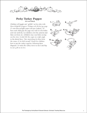 Perky Turkey Puppet - Printable Worksheet