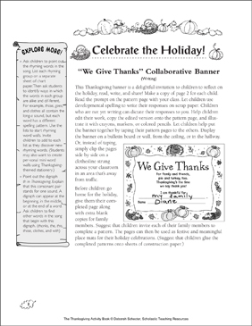Giving Thanks (Song and Collaborative Banner) - Printable Worksheet