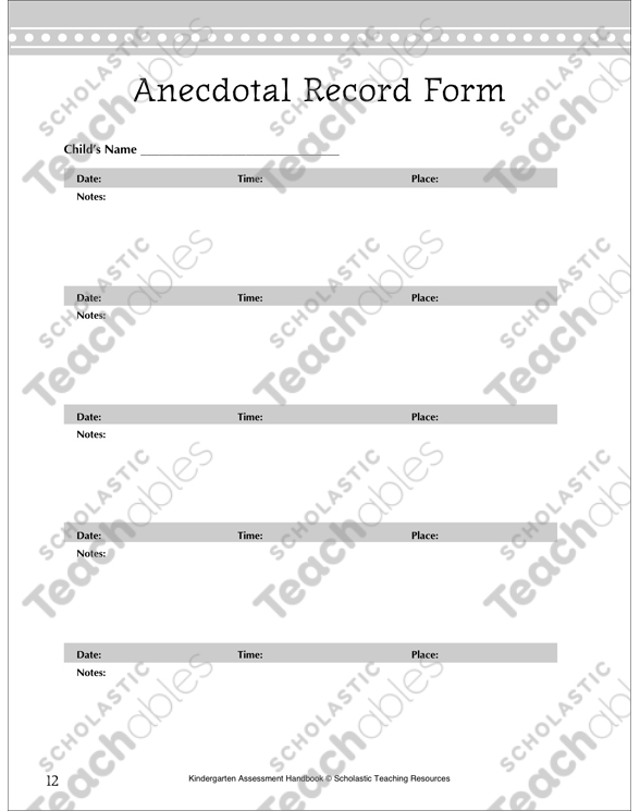 Anecdotal Records Teacher Reference Printable Assessment Tools