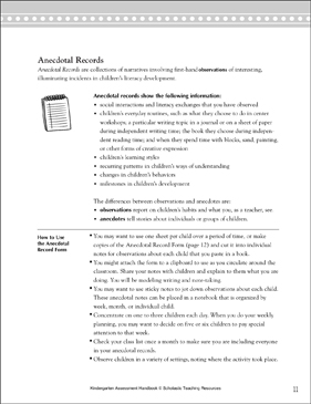 Anecdotal Records: Teacher Reference - Printable Worksheet