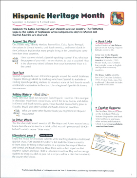 Hispanic Heritage Month: Holiday Ideas - Printable Worksheet