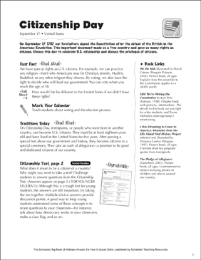 Constitution Day (Citizenship Day): Holiday Ideas - Printable Worksheet