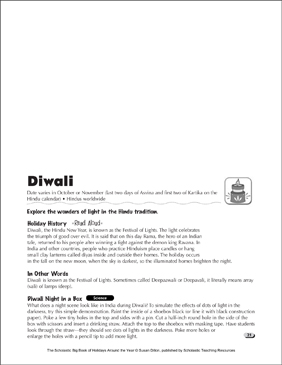 Diwali: Holiday Ideas - Printable Worksheet