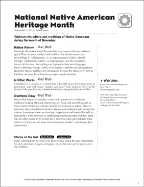 National American Indian Heritage Month: Holiday Ideas - Printable Worksheet