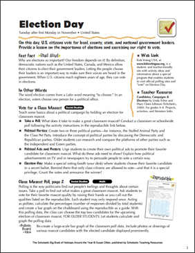 Election Day: Holiday Ideas - Printable Worksheet