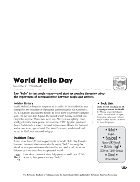 World Hello Day: Holiday Ideas - Printable Worksheet