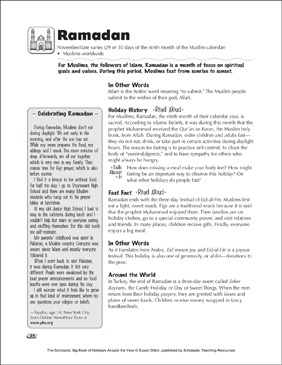 Ramadan: Holiday Ideas - Printable Worksheet