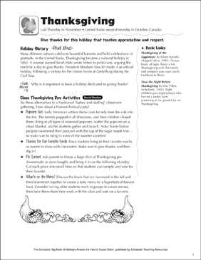 Thanksgiving: Holiday Ideas - Printable Worksheet