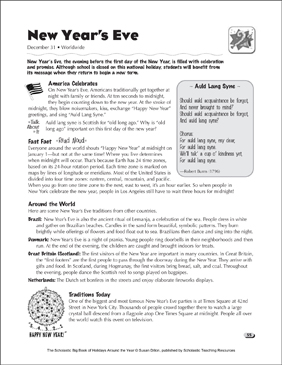 New Year's Eve: Holiday Ideas - Printable Worksheet
