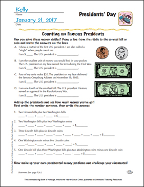 Presidents' Day Holiday Ideas - Printable Worksheet