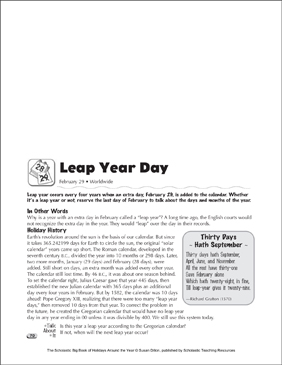 Leap Year Day: Holiday Ideas - Printable Worksheet