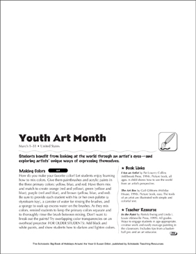 Youth Art Month: Holiday Ideas - Printable Worksheet