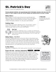 St. Patrick's Day: Holiday Ideas - Printable Worksheet