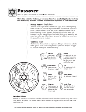 Passover: Holiday Ideas - Printable Worksheet
