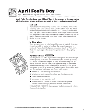 April Fool's Day: Holiday Ideas - Printable Worksheet
