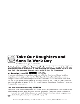 Take Our Daughters and Sons To Work Day: Holiday Ideas - Printable Worksheet