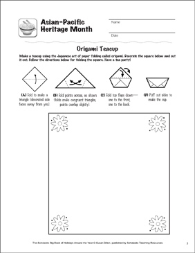 Asian-Pacific Heritage Month: Holiday Ideas - Printable Worksheet