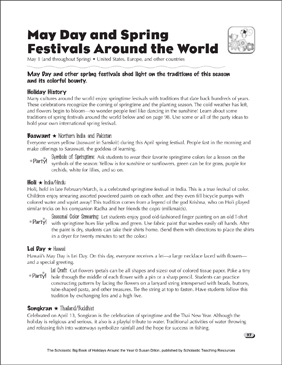 May Day and Spring Festivals Around the World: Holiday Ideas - Printable Worksheet