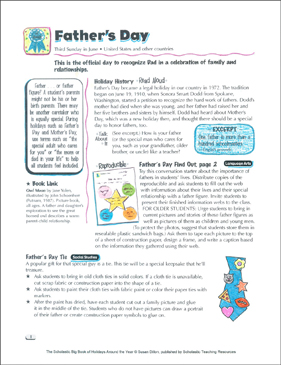 Father's Day: Holiday Ideas - Printable Worksheet