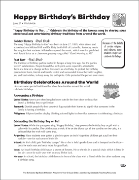 happy birthday 39 s birthday holiday ideas printable lesson plans and ideas. Black Bedroom Furniture Sets. Home Design Ideas