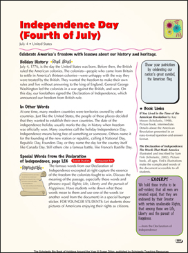 Independence Day (Fourth of July): Holiday Ideas - Printable Worksheet