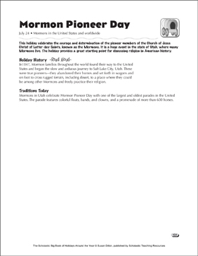Mormon Pioneer Day: Holiday Ideas - Printable Worksheet