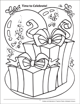 Time to Celebrate! Holidays and Celebrations Coloring Page - Printable Worksheet