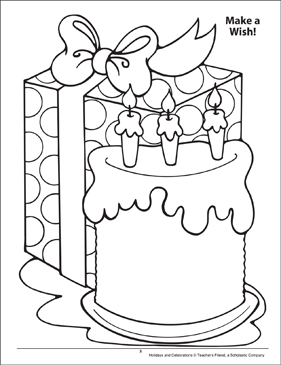 Make a Wish! Holidays and Celebrations Coloring Page - Printable Worksheet