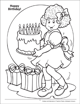 Happy Birthday! Holidays and Celebrations Coloring Page - Printable Worksheet
